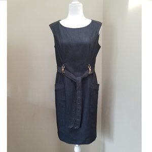 Anne Klein Women Belted Sleeveless Sheath Dress